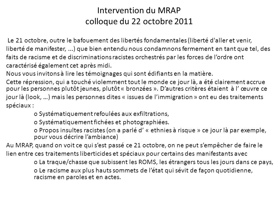 Intervention du MRAP colloque du 22 octobre 2011