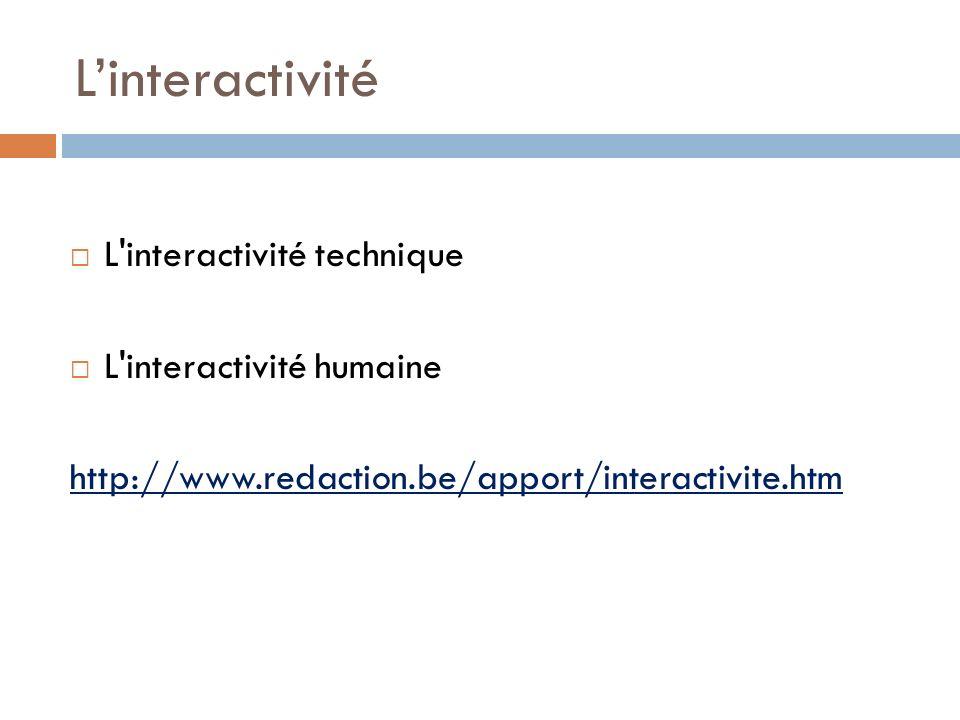 L'interactivité L interactivité technique L interactivité humaine