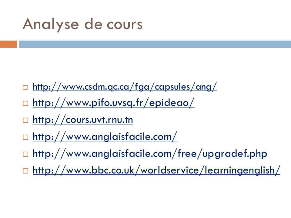 Analyse de cours http://www.pifo.uvsq.fr/epideao/