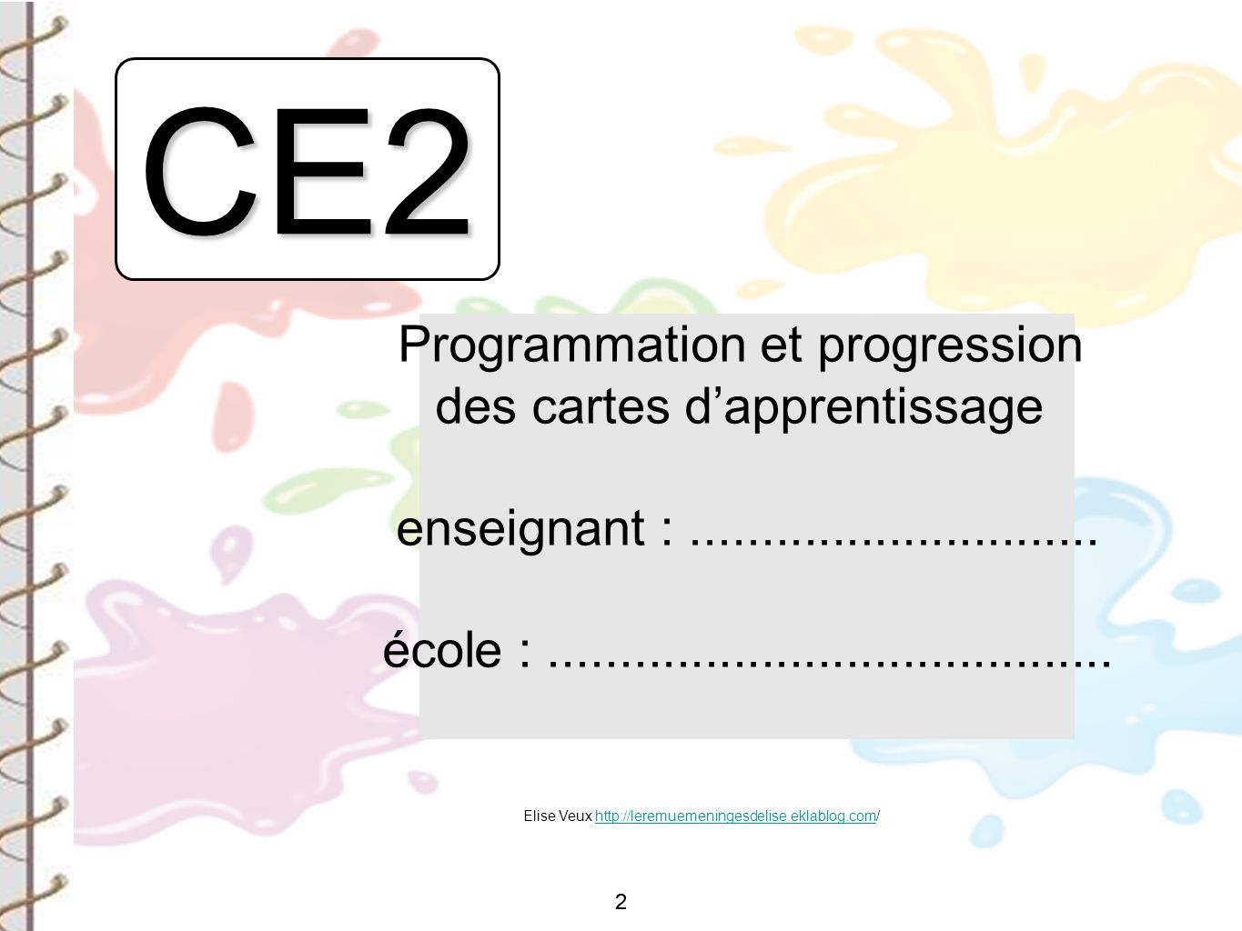 CE2 Programmation et progression des cartes d'apprentissage