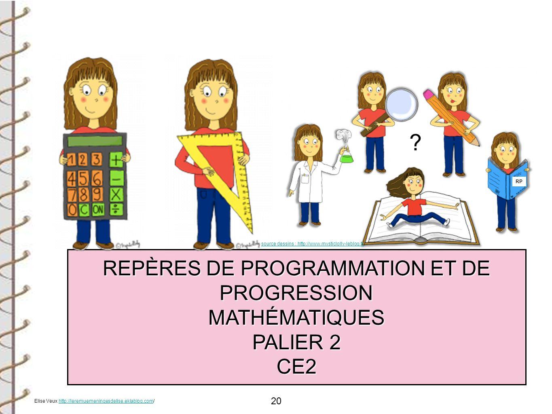 REPÈRES DE PROGRAMMATION ET DE PROGRESSION MATHÉMATIQUES PALIER 2