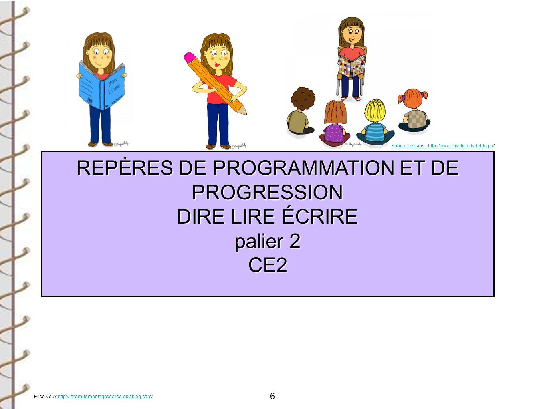 REPÈRES DE PROGRAMMATION ET DE PROGRESSION DIRE LIRE ÉCRIRE palier 2