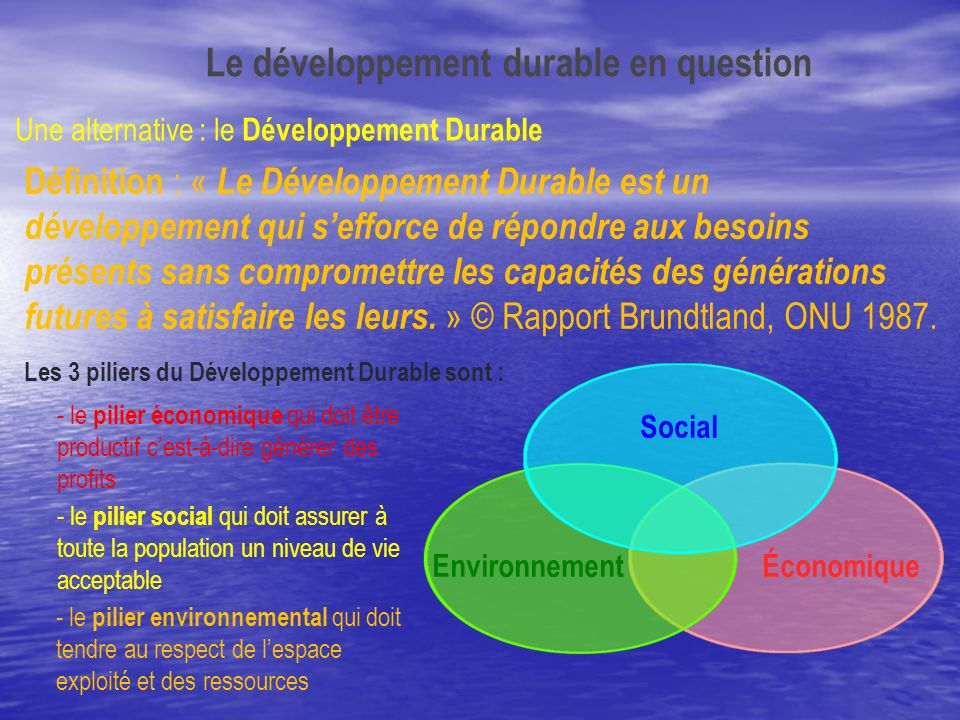 Le développement durable en question