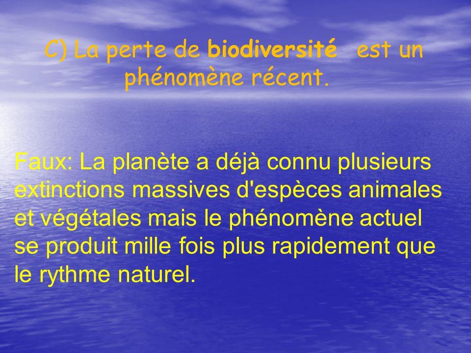 C) La perte de biodiversité est un phénomène récent.