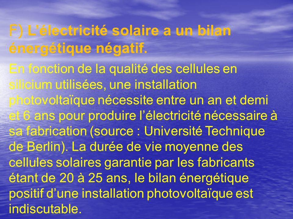 F) L'électricité solaire a un bilan énergétique négatif.