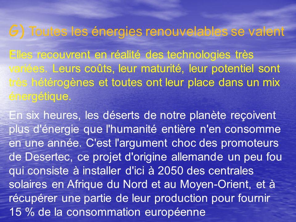 G) Toutes les énergies renouvelables se valent .