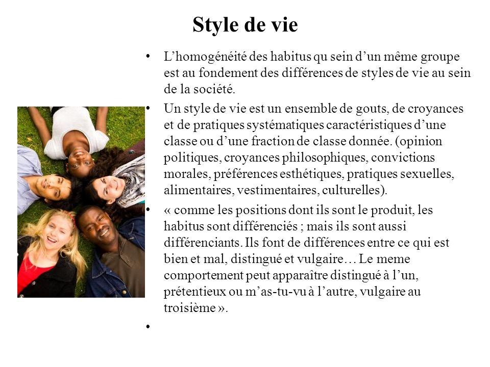 Style de vie L'homogénéité des habitus qu sein d'un même groupe est au fondement des différences de styles de vie au sein de la société.