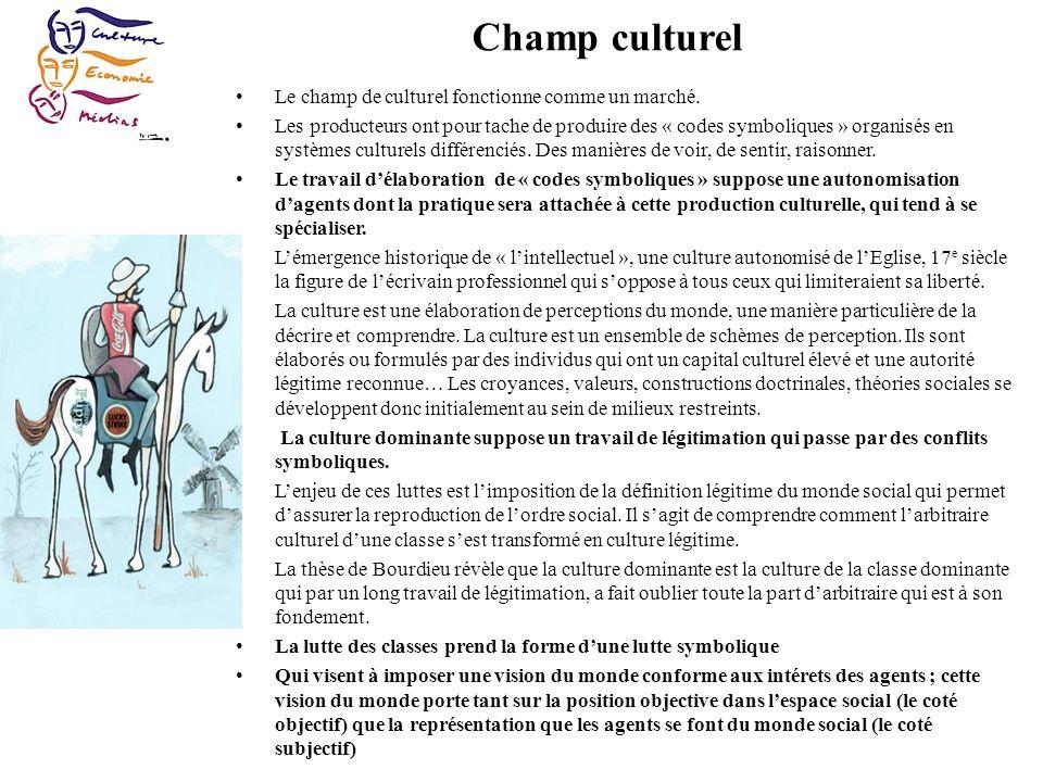 Champ culturel Le champ de culturel fonctionne comme un marché.