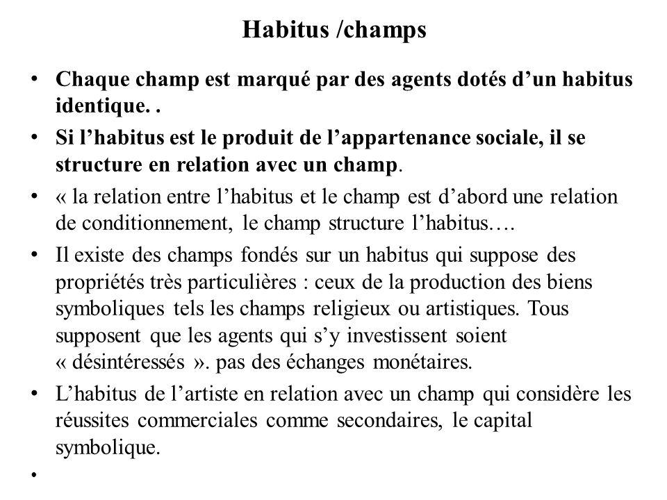 Habitus /champs Chaque champ est marqué par des agents dotés d'un habitus identique. .