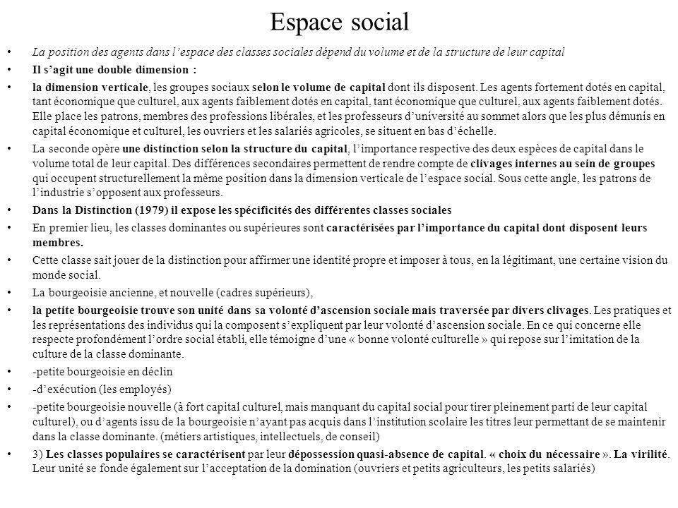 Espace social La position des agents dans l'espace des classes sociales dépend du volume et de la structure de leur capital.