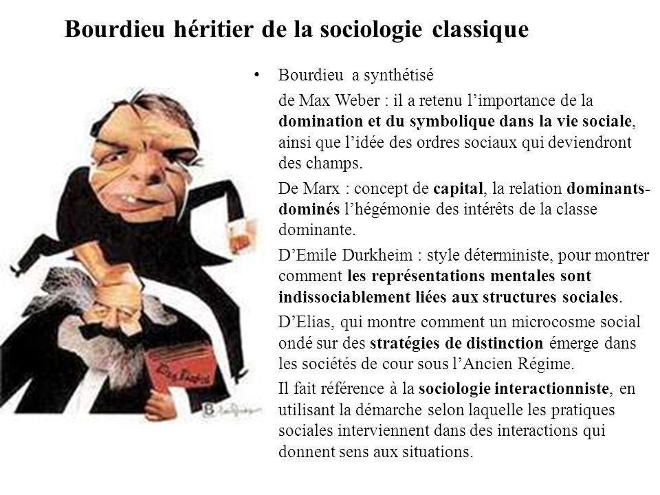 Bourdieu héritier de la sociologie classique