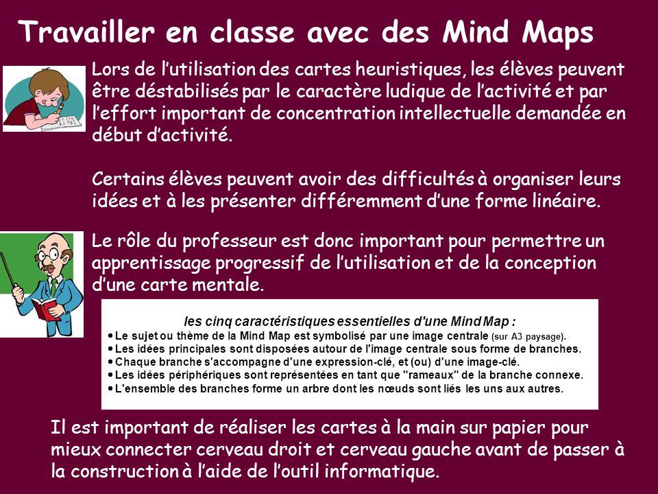 les cinq caractéristiques essentielles d une Mind Map :