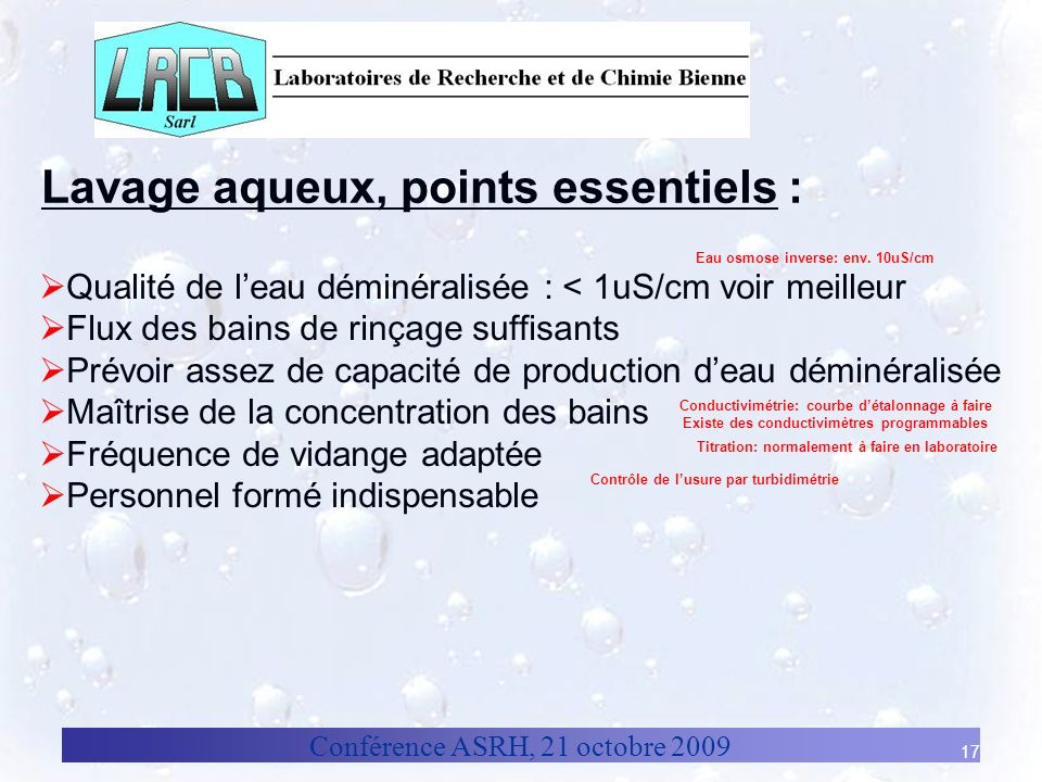 Lavage aqueux, points essentiels :