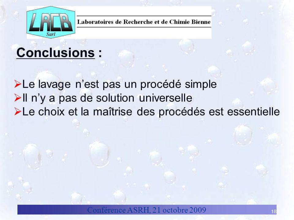 Conclusions : Le lavage n'est pas un procédé simple