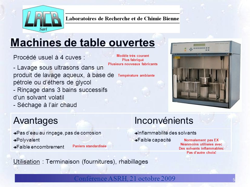 Machines de table ouvertes