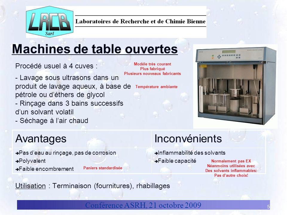 Machines de table ouvertes