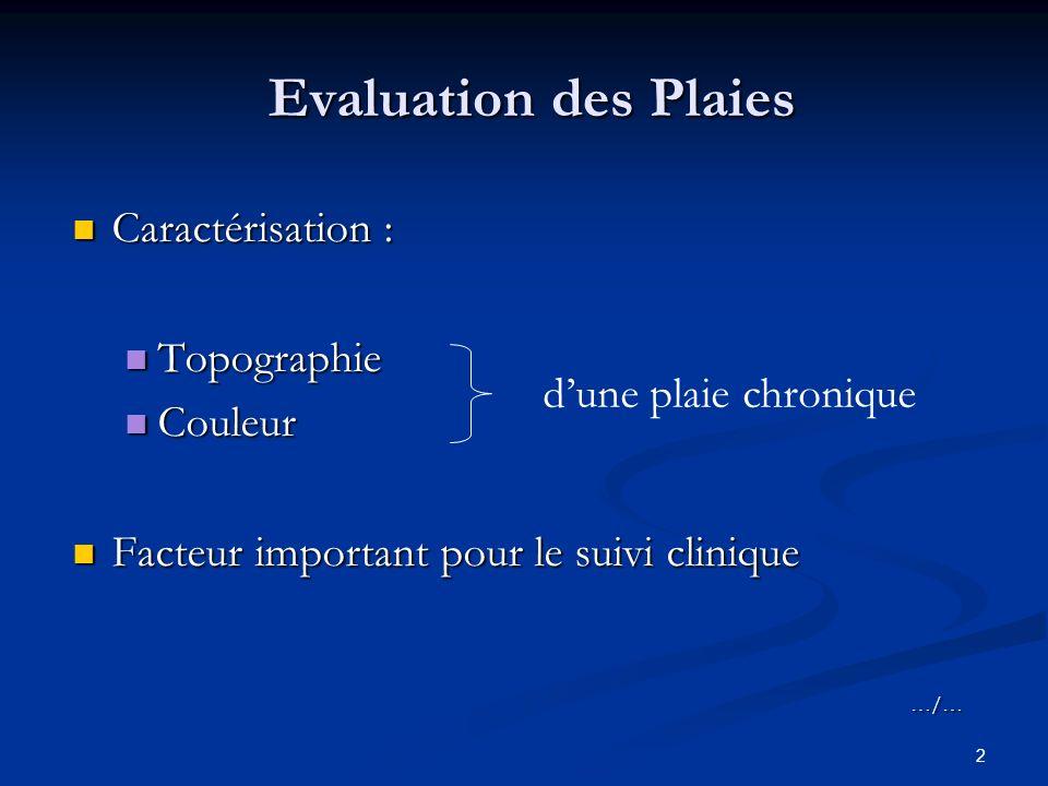 Evaluation des Plaies Caractérisation : Topographie Couleur