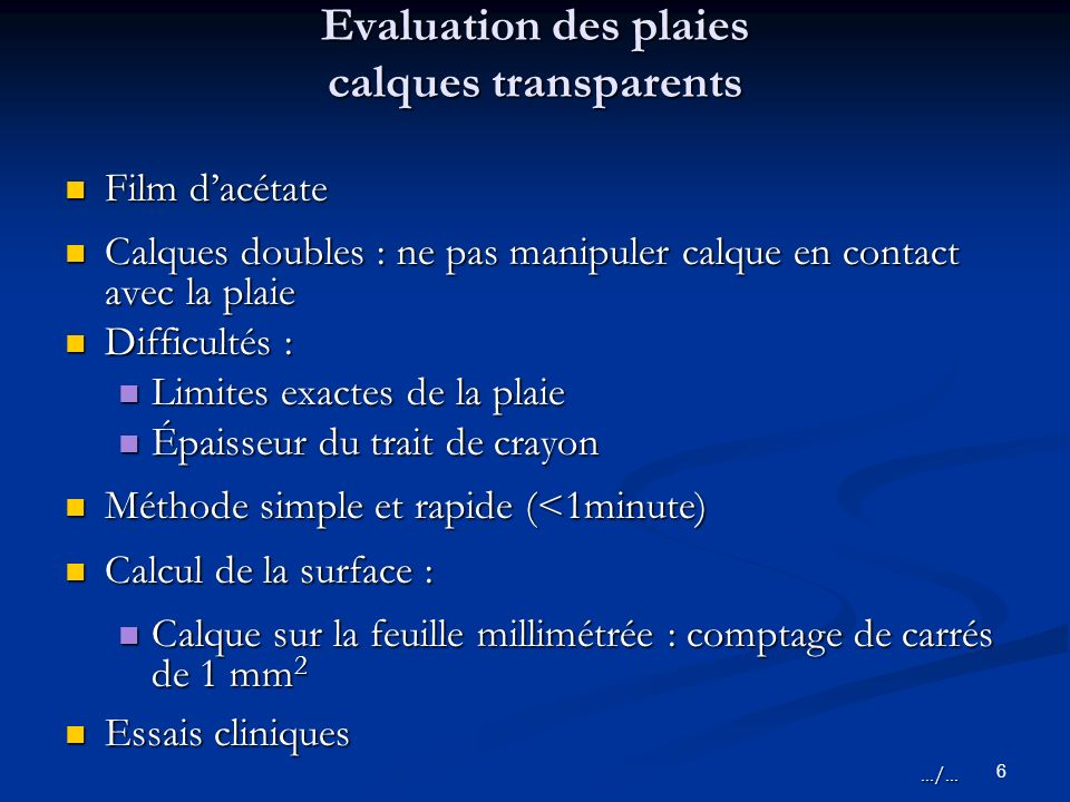 Evaluation des plaies calques transparents