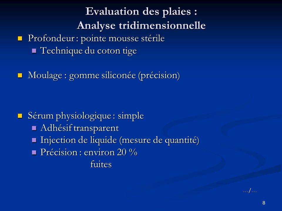 Evaluation des plaies : Analyse tridimensionnelle