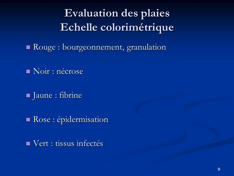 Evaluation des plaies Echelle colorimétrique