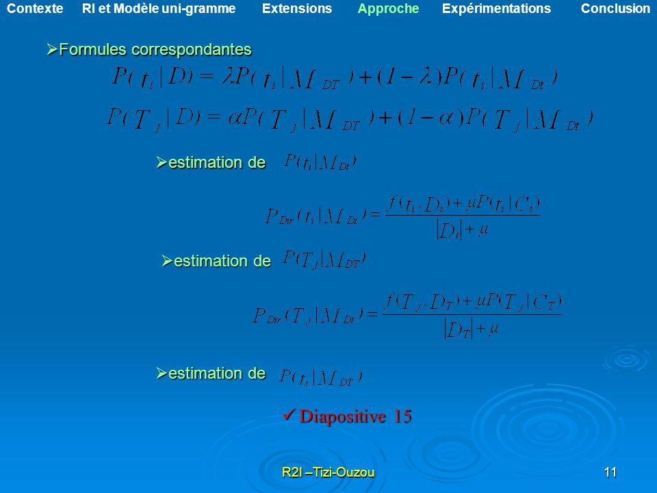 Formules correspondantes