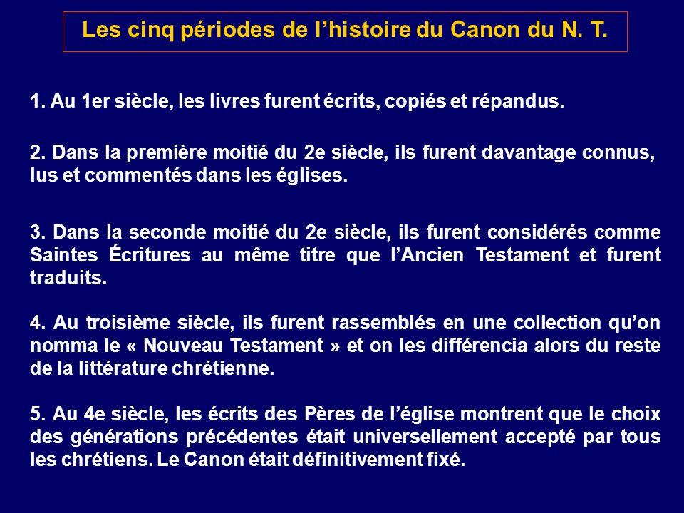 Les cinq périodes de l'histoire du Canon du N. T.