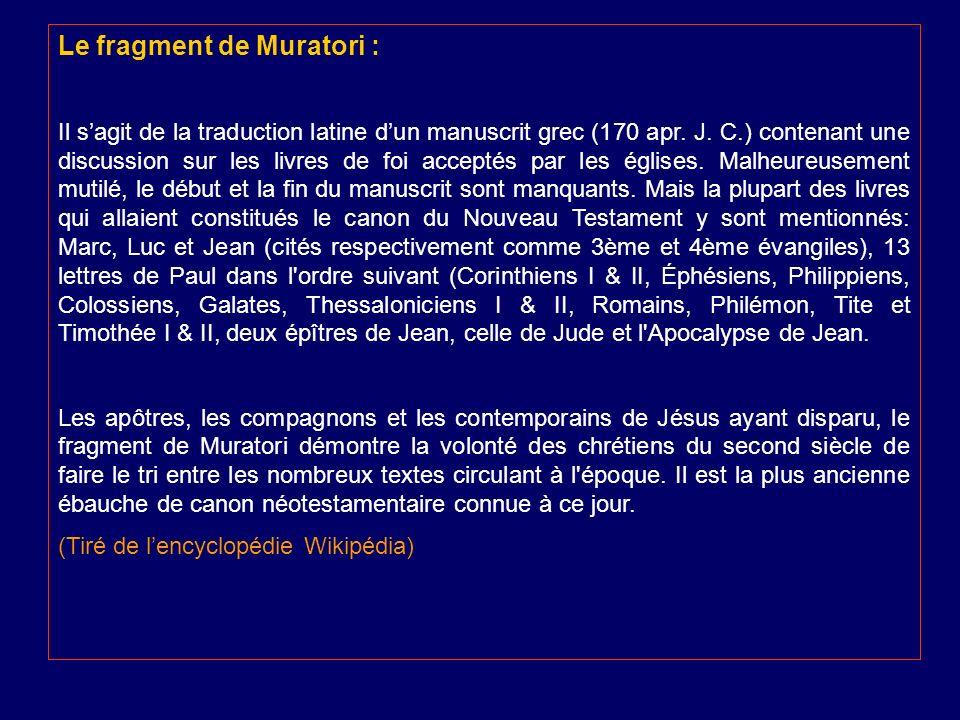Le fragment de Muratori :