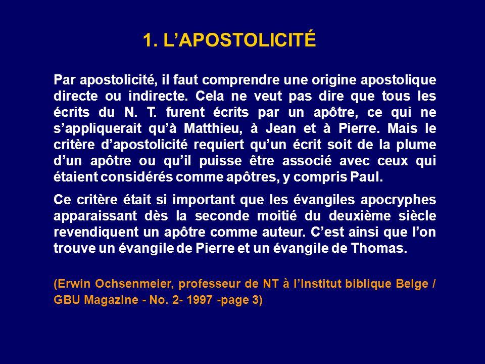 1. L'APOSTOLICITÉ