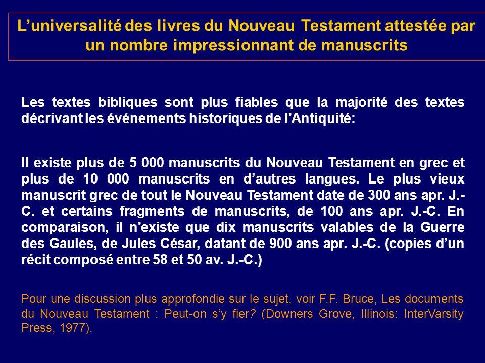 L'universalité des livres du Nouveau Testament attestée par un nombre impressionnant de manuscrits