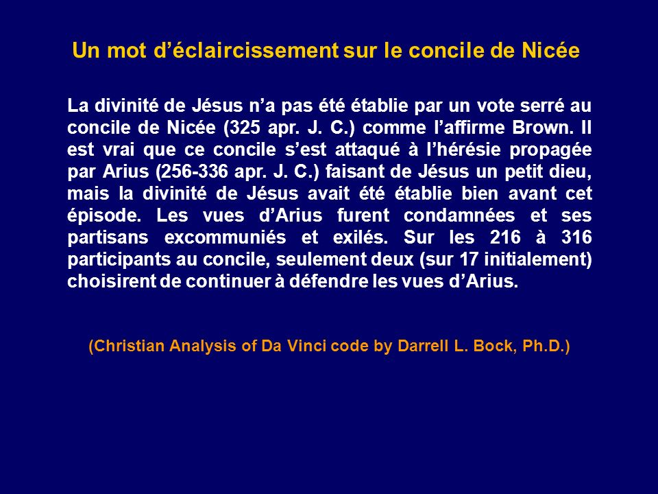 Un mot d'éclaircissement sur le concile de Nicée