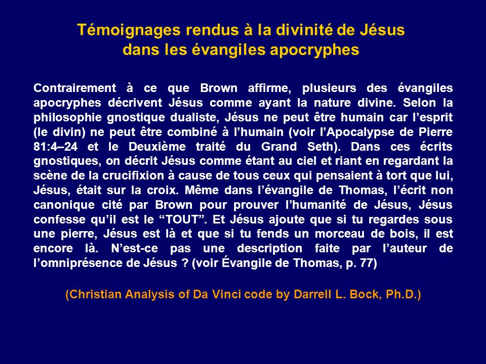 (Christian Analysis of Da Vinci code by Darrell L. Bock, Ph.D.)