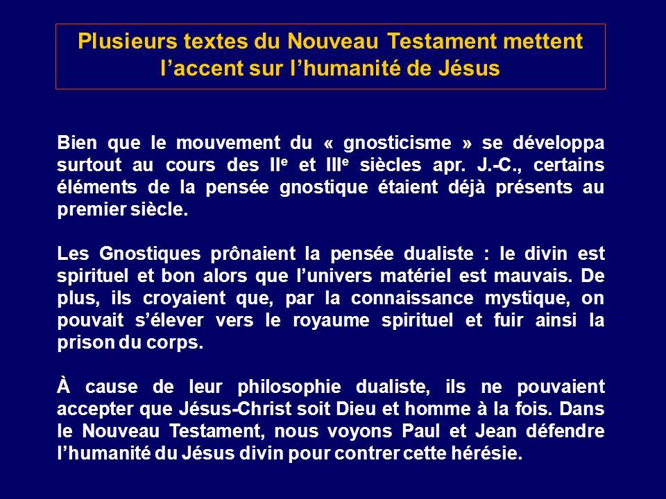 Plusieurs textes du Nouveau Testament mettent l'accent sur l'humanité de Jésus