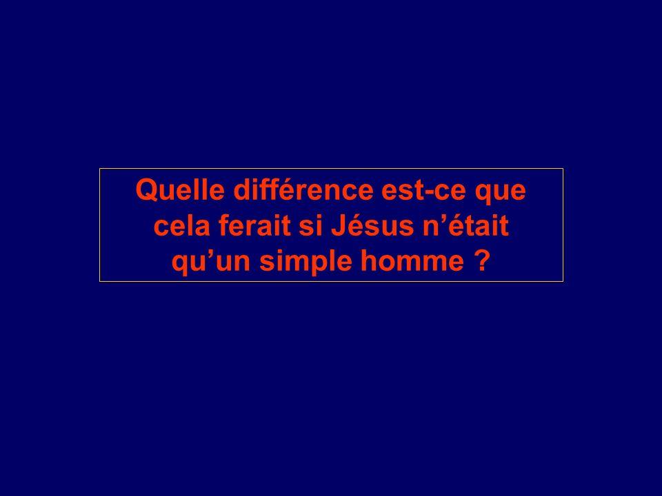 Quelle différence est-ce que cela ferait si Jésus n'était qu'un simple homme