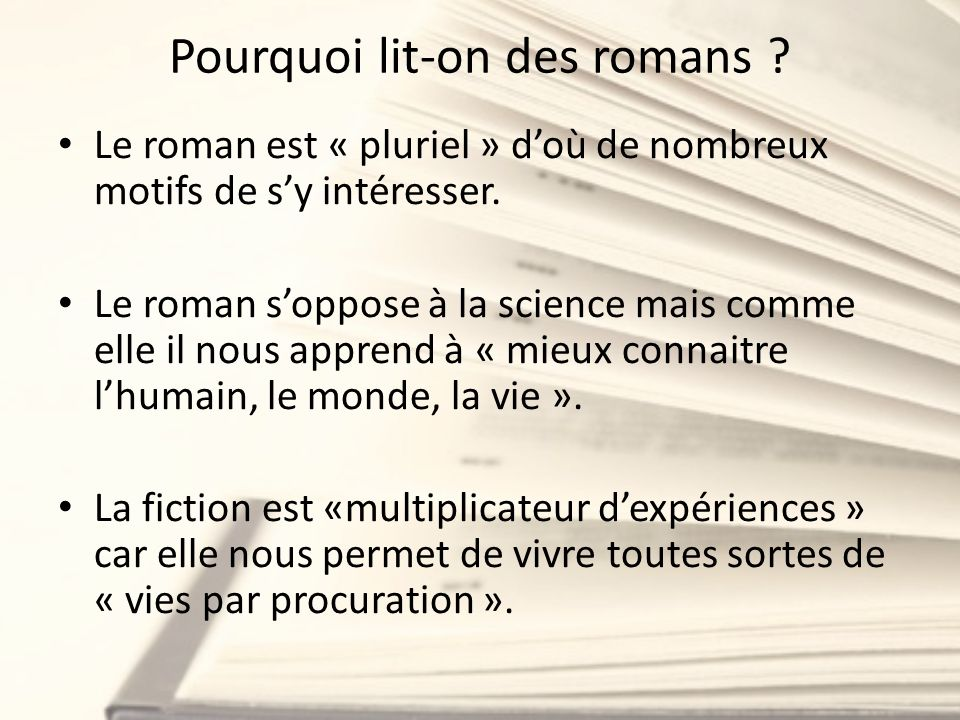Pourquoi lit-on des romans