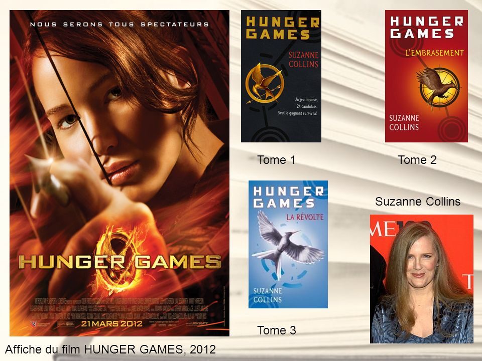 Tome 1 Tome 2 Suzanne Collins Tome 3 Affiche du film HUNGER GAMES, 2012