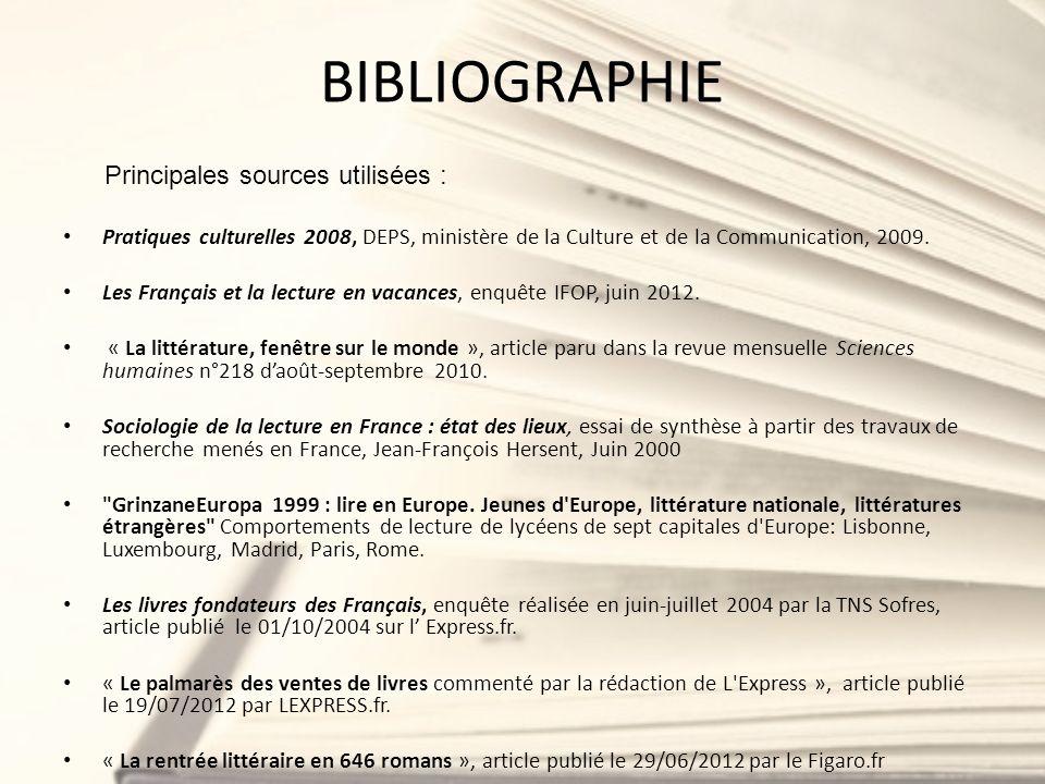 BIBLIOGRAPHIE Principales sources utilisées :