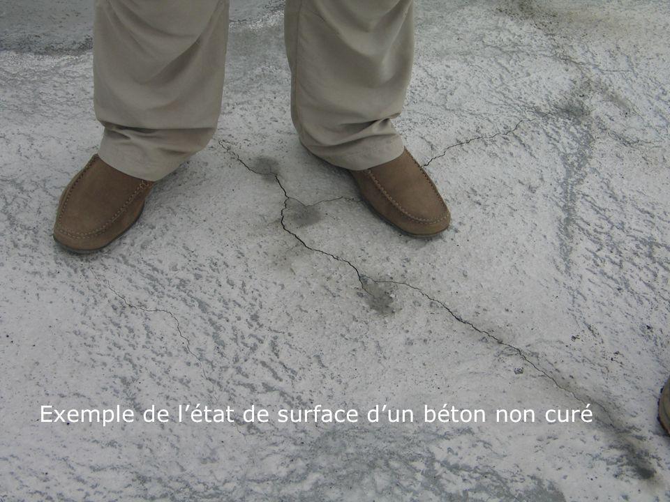 Exemple de l'état de surface d'un béton non curé