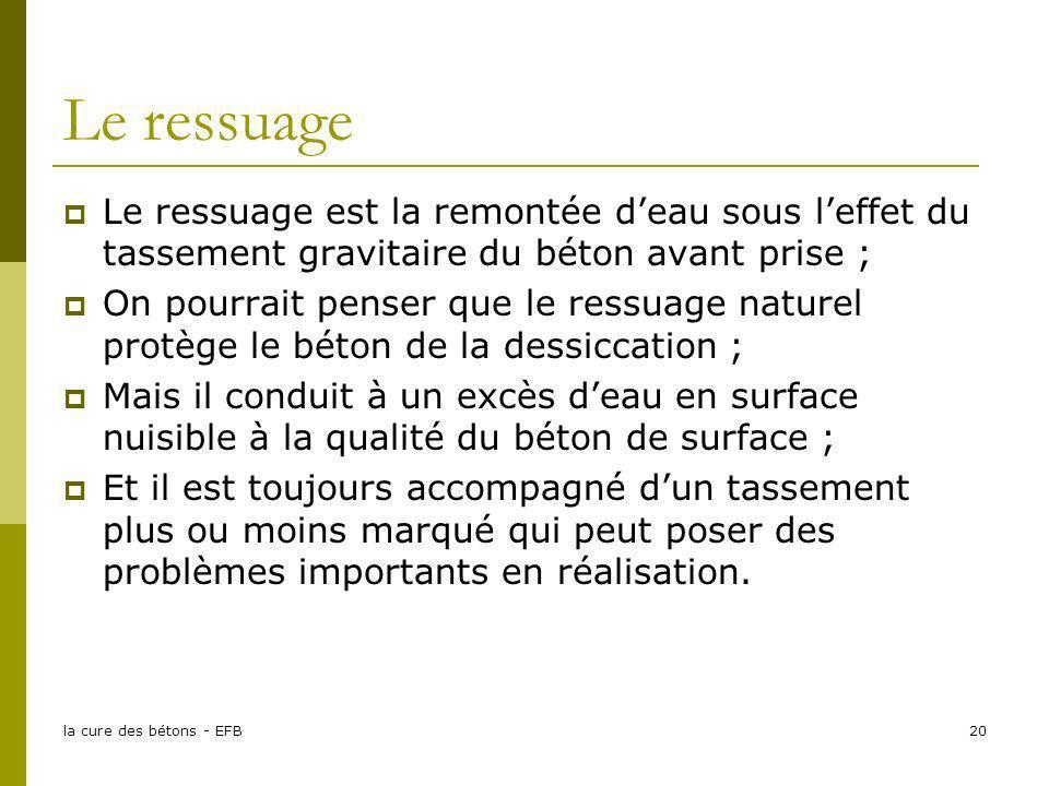 Le ressuage Le ressuage est la remontée d'eau sous l'effet du tassement gravitaire du béton avant prise ;