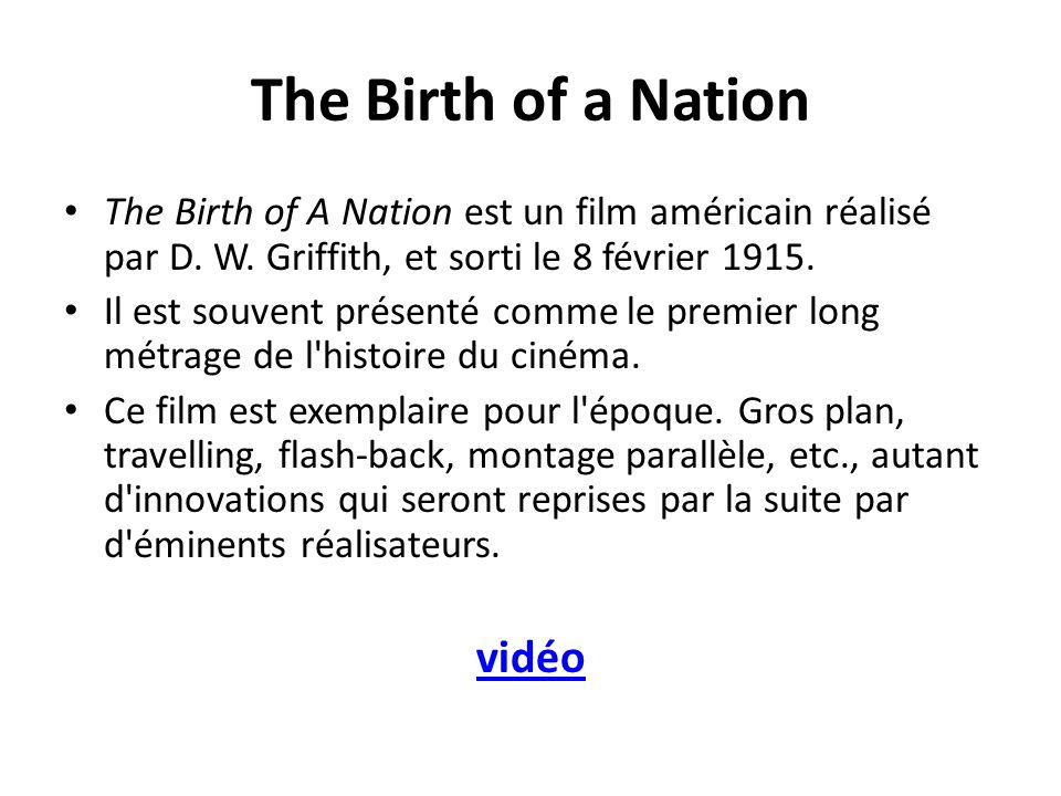 The Birth of a Nation vidéo