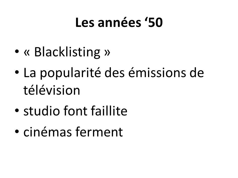 Les années '50 « Blacklisting » La popularité des émissions de télévision.
