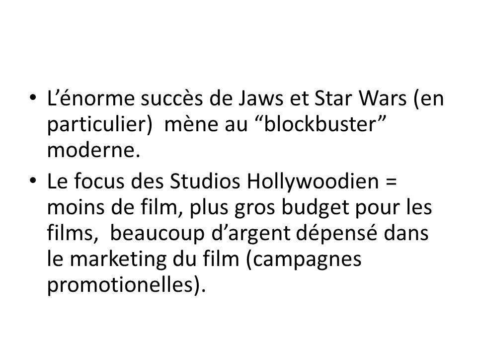 L'énorme succès de Jaws et Star Wars (en particulier) mène au blockbuster moderne.