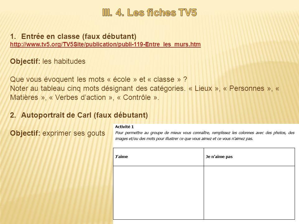 III. 4. Les fiches TV5 Entrée en classe (faux débutant)
