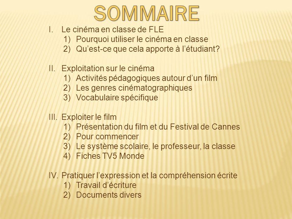SOMMAIRE Le cinéma en classe de FLE