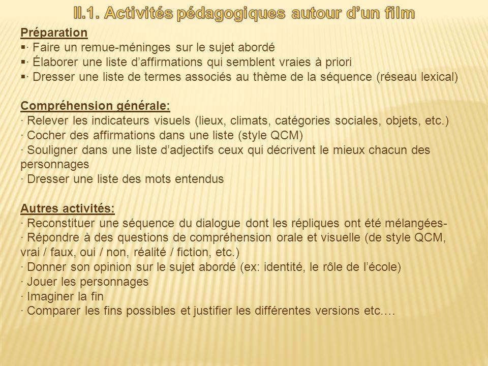 II.1. Activités pédagogiques autour d'un film