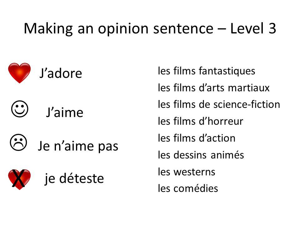 Making an opinion sentence – Level 3