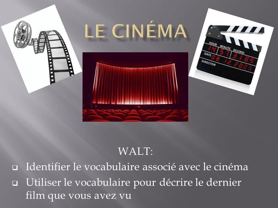 Le cinéma WALT: Identifier le vocabulaire associé avec le cinéma