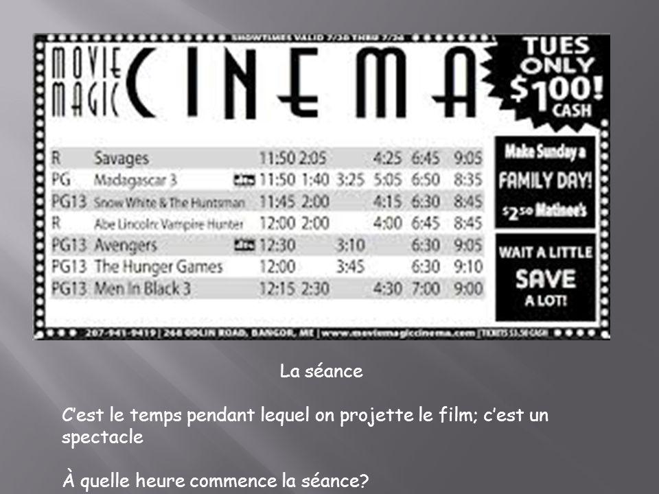 La séance C'est le temps pendant lequel on projette le film; c'est un spectacle.