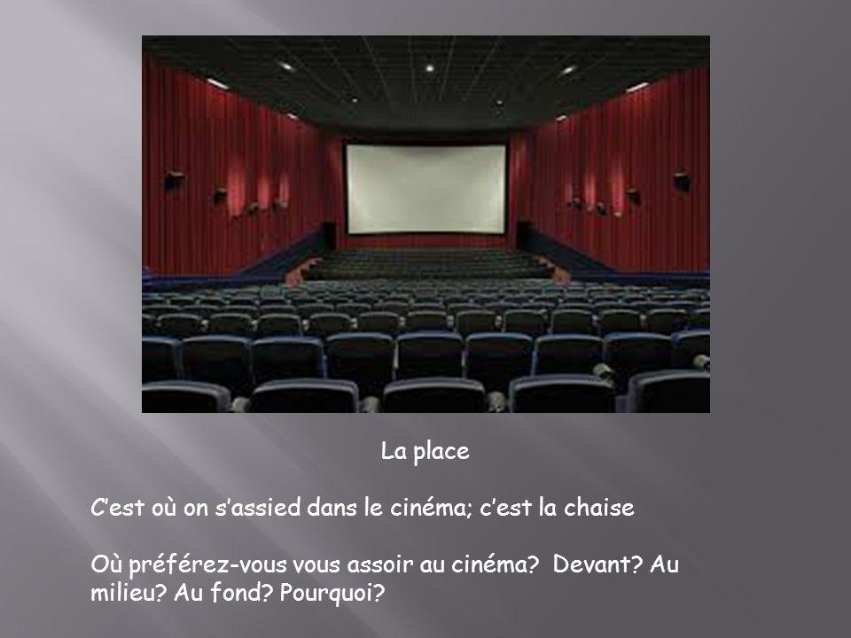 La place C'est où on s'assied dans le cinéma; c'est la chaise.
