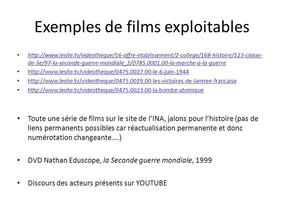 Exemples de films exploitables