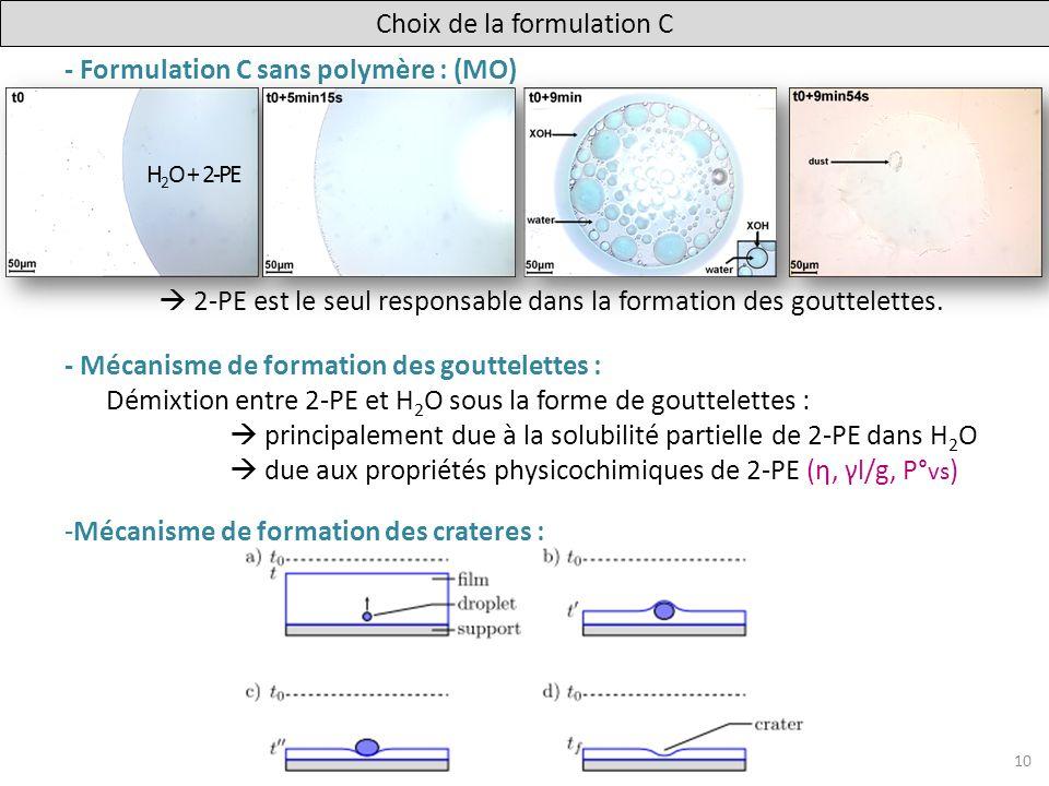 Choix de la formulation C
